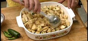 Cook a simple spicy Mediterranean oven-roasted garlic potato side dish