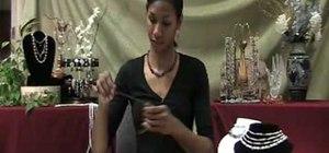 Attach a fold over crimp to organza ribbon