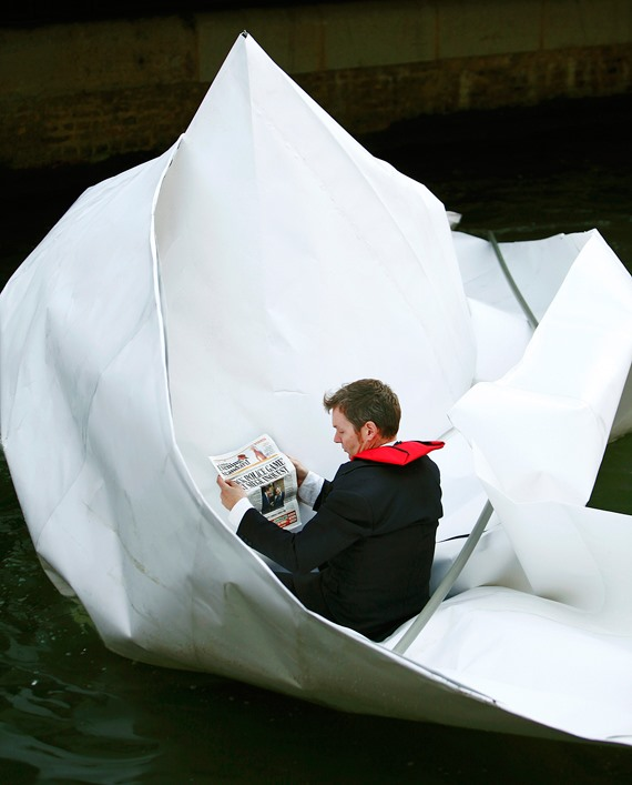 Massive Origami Boat Floats Down the Thames