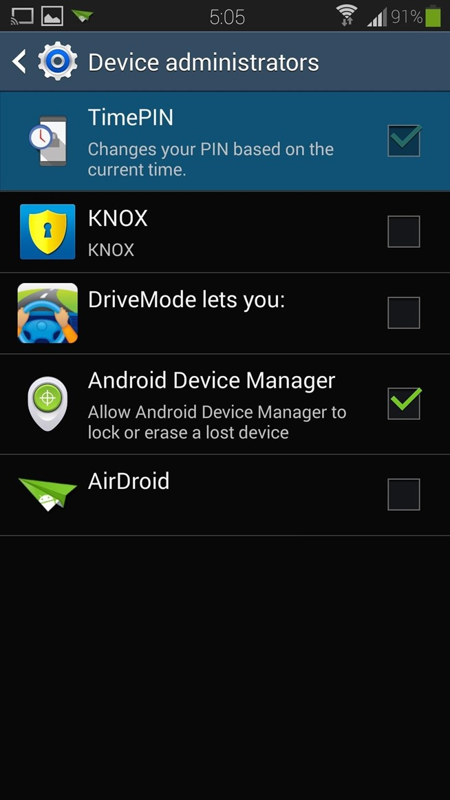 how to change permission in samsung s4