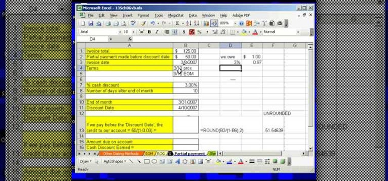 How to Find credit for a partial invoice payment in MS