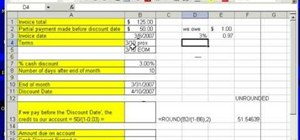 Find credit for a partial invoice payment in MS Excel