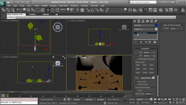 Create a depth of field effect in 3ds Max's Mental Ray
