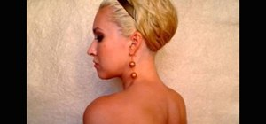 Style an elegant faux bob glam updo hairstyle for medium or long curly hair