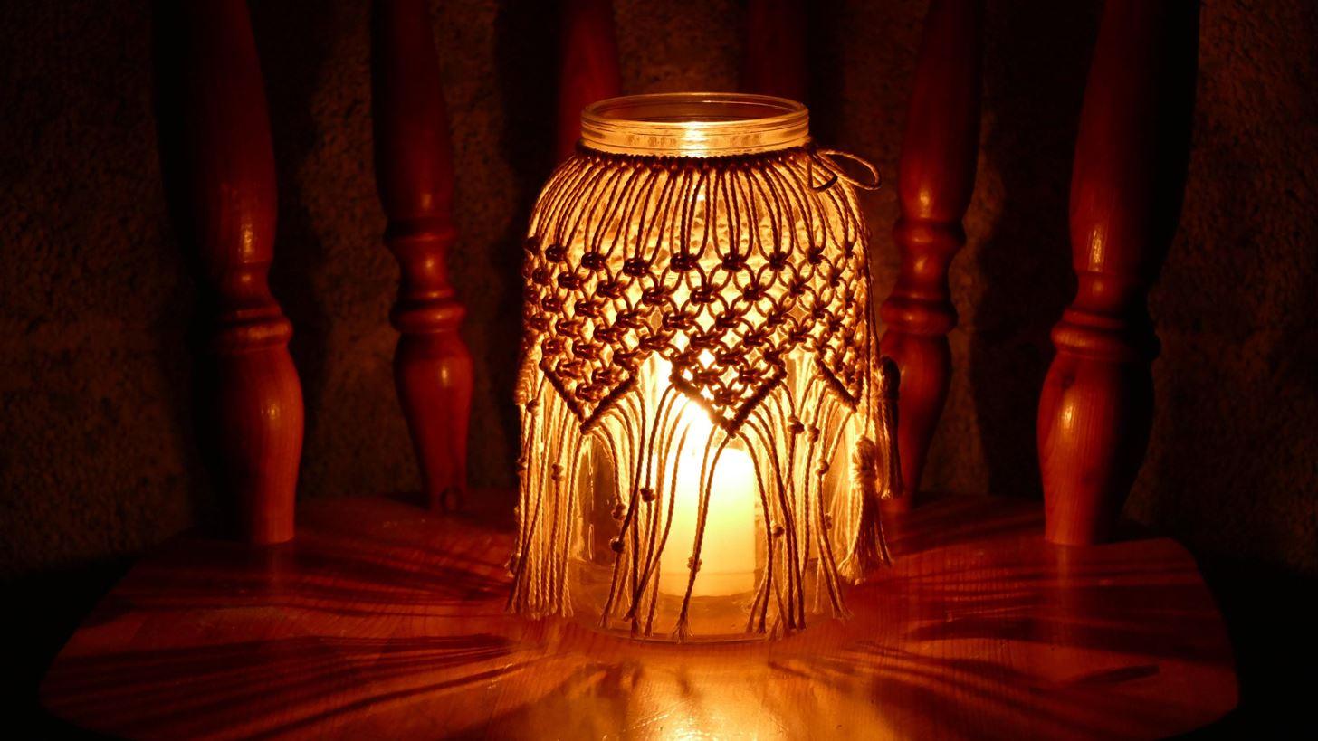 Macrame Jar Cover Candle Holder