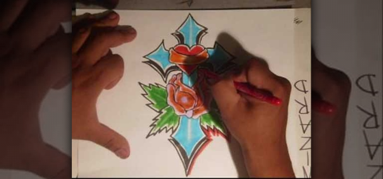 How To Draw A Gothic Blue Cross With A Heart And Rose Graffiti