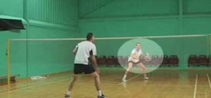 Block with the backhand in badminton