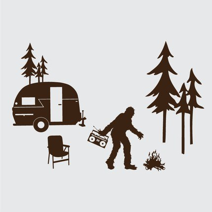 Sasquatch camping wall decals camping for Decals for rv mural