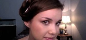 Create a pretty ribbon twist updo for homecoming