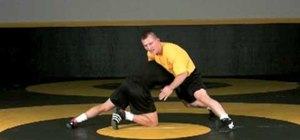 Defend a high crotch for 3 point throw wrestling