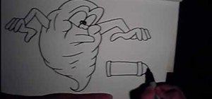 Draw a graffiti version of Slimer from Ghostbusters
