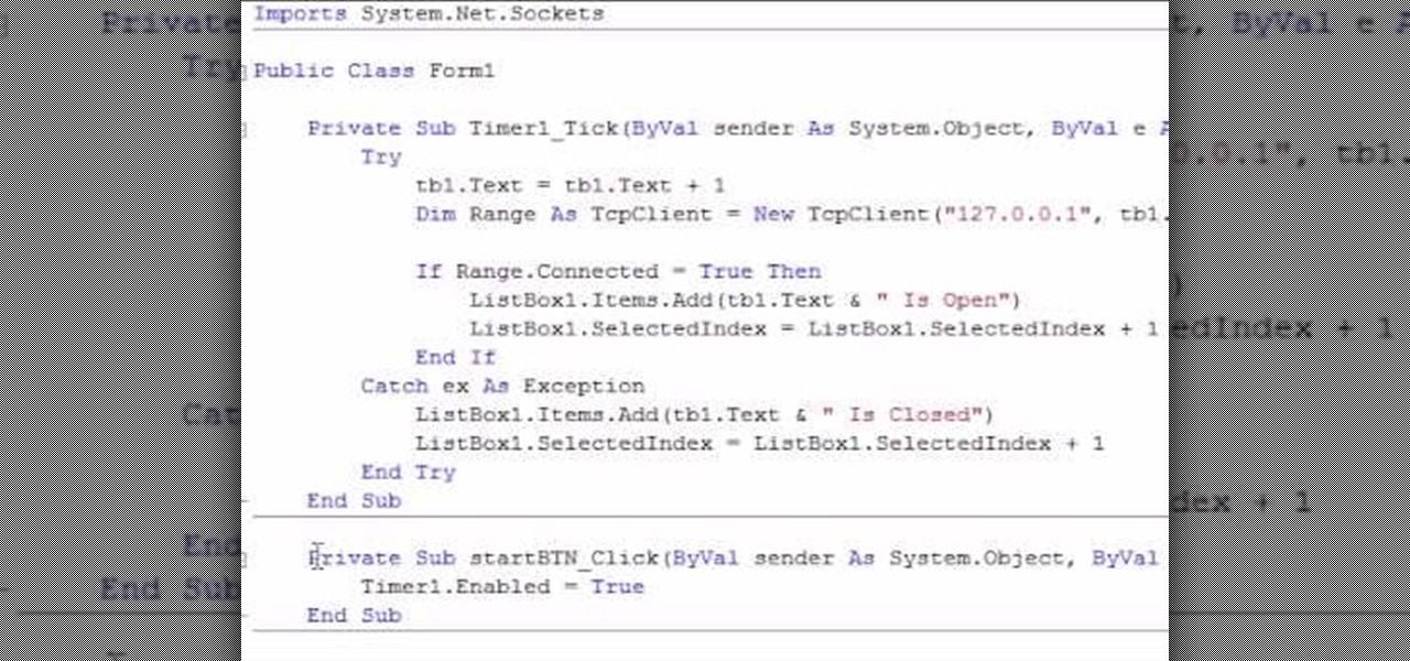 How to Make a simple port scanner in VB Net « VB NET