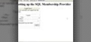 Set up the SQL membership provider in ASP.Net
