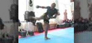 Perform a kickboxing back kick