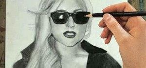 Draw a pencil sketch of pop superstar Lady Gaga