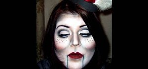 Apply a ventriloquist dummy makeup look for Halloween