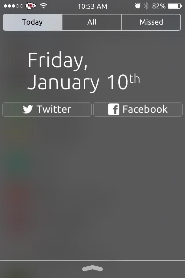 set up then just pull down the notification center to post on your