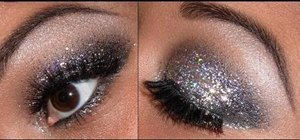 Apply glittery eye makeup for New Year's