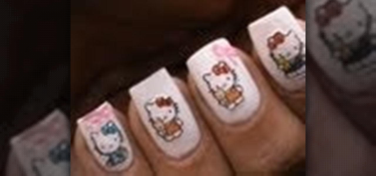 How to do hello kitty nail art design nails manicure how to hello kitty nails and how to use nail art stickers prinsesfo Images
