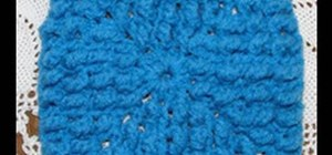 Crochet a left handed knobby granny square