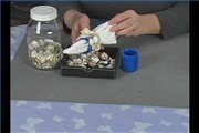 Glue Shells on Summer Napkin Holders