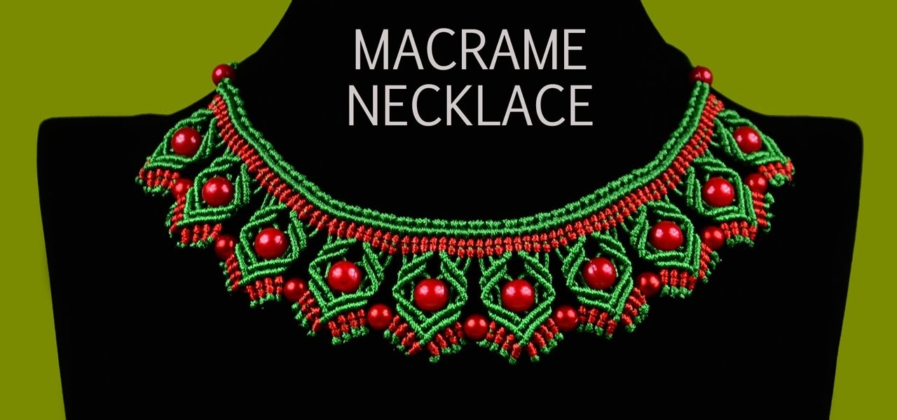 DIY Macrame Necklace with Diamonds and Beads