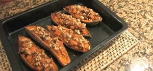 Make twice baked sweet potatoes