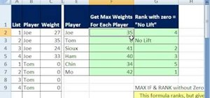 Use Microsoft Excel's MAX IF & RANK functions