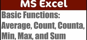Use basic functions in Excel (AVERAGE, COUNT, MIN/MAX)