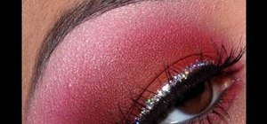 Apply red eyeshadow with glitter eyeliner for a party