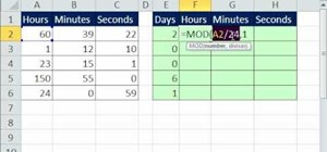 Convert hours to days & days to hours with Excel's MOD