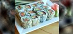 Make spicy salmon maki sushi rolls