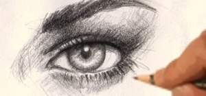 Draw a realistic female eye