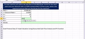 Calculate the present value of an annuity for asset valuation in Excel