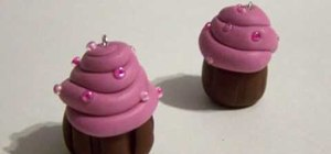 Make polymer clay cupcake charms