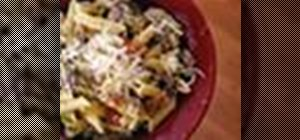 Prepare a simple penne carbonara with bacon and mushrooms
