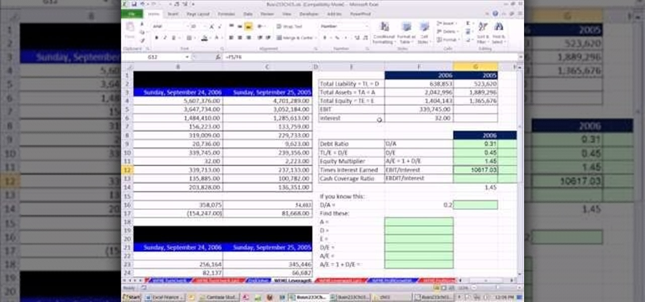 how to calculate leverage and solvency ratios in microsoft