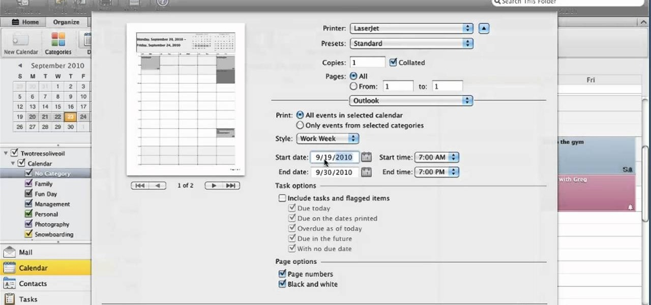 How To Print Out A Copy Of Your Calendar In Microsoft Outlook For