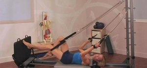 Perform a supine jumping routine on a Pilates Reformer