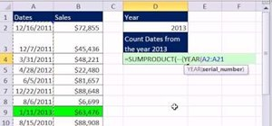 Count dates falling within a given year in MS Excel