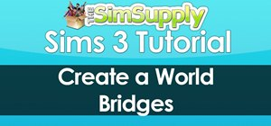 Build bridges over water using the Sims 3 world builder tool