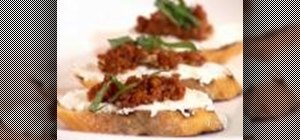 Prepare crostini with various, unique toppings