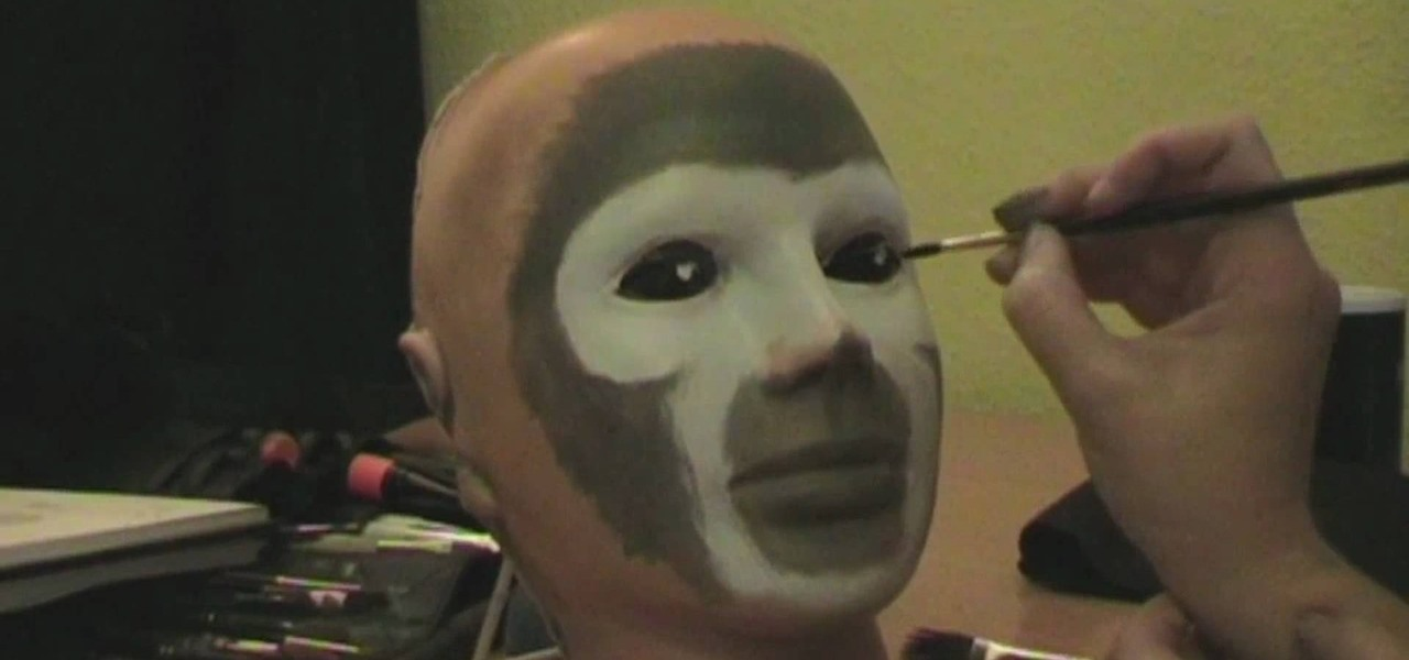How to apply squirrel monkey aka skullmonkey facepaint for How to apply face paint