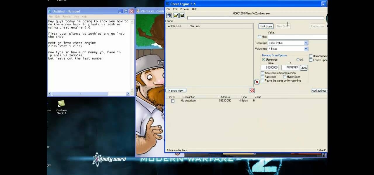 How to Hack Plants vs Zombies for more money using Cheat Engine 5.6