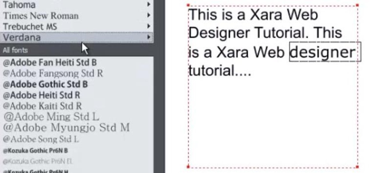 Use the Text Tool in Xara Web Designer