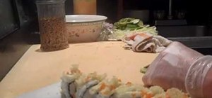 Make a crunchy shrimp sushi roll
