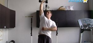 Do a single-arm standing tricep extension exercise