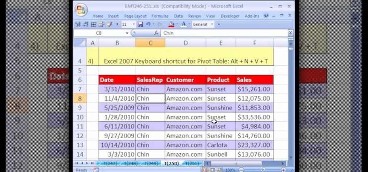 how to create a nested unique list via a pivot table in excel