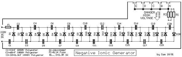 Negative Voltage Generator a Negative Ion Generator