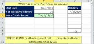 Use the WORKDAY & WORKDAY.INTL functions in Excel 2010